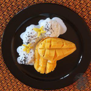 riso appiccicoso con mango